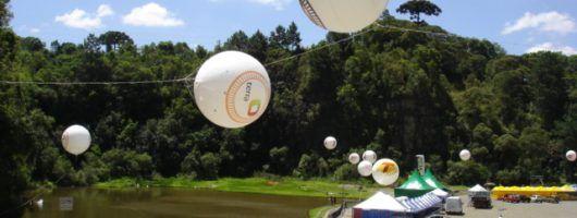 Blimp inflado com gás hélio